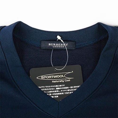 【姊只賣真貨】BURBERRY 日本限定正品男仕輕著運動夏季V領貼身透氣短袖T恤上衣(深藍/黑色)