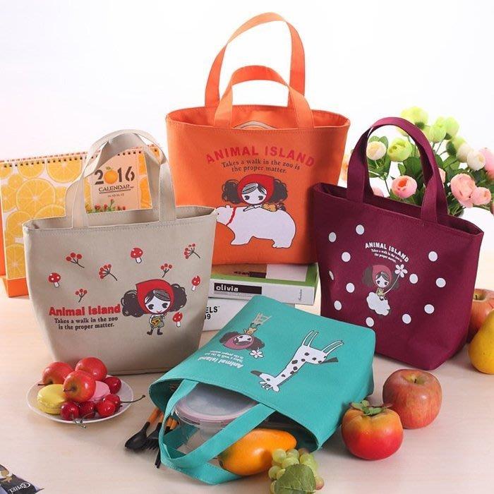 可愛普拉女孩飯盒袋保溫便當包牛津布午餐包 卡通手提袋 百貨用品 便當袋/手提包 紙製品收納整理