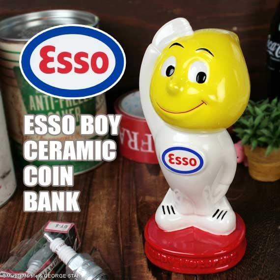 (I LOVE樂多)經典美式老牌ESSO埃索油滴人陶瓷存錢桶 歡迎光臨公仔