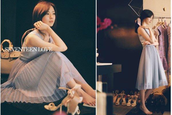 【17LOVE】七折熱賣 韓國空運  度假 無袖 雪紡 歐根紗 百褶氣質 綁帶 洋裝 女神 灰紫藍