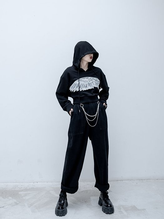 【鈷藍家】暗黑哲學原創休閑高街牛仔長褲子女新款秋直筒高腰設計感鏈條牛仔哈倫褲cs