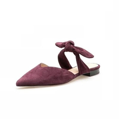 夏季復古尖頭穆勒鞋女夏平底包頭蝴蝶結懶人半拖鞋外穿平跟涼拖鞋