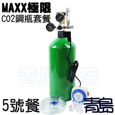。。。青島水族。。。台灣MAXX極限---CO2鋼瓶套餐 雙錶電磁閥 計泡器 細化器 止逆閥 風管==側路式5號餐5L
