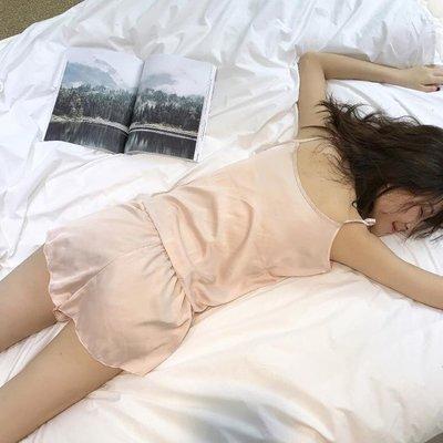 現貨/夏季正韓輕熟少女質感舒適輕薄吊帶睡衣短褲套裝居家服女119SP5RL/ 最低促銷價
