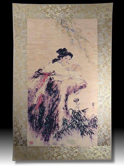 【 金王記拍寶網 】S1302  中國近代書畫名家 名家款 水墨人物圖 居家複製畫 名家書畫一張 罕見 稀少