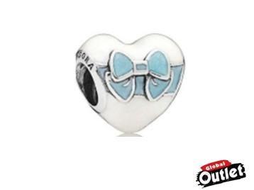 【全球購.COM】PANDORA 潘朵拉 琺瑯新款藍色蝴蝶結愛心串珠 925純銀 美國正品代購