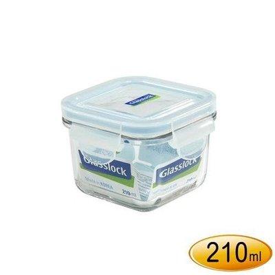 2059生活居家館 韓製Glasslock強化玻璃保鮮盒210ML【RP545】正方形玻璃微波盒 毛小孩肉泥分裝盒
