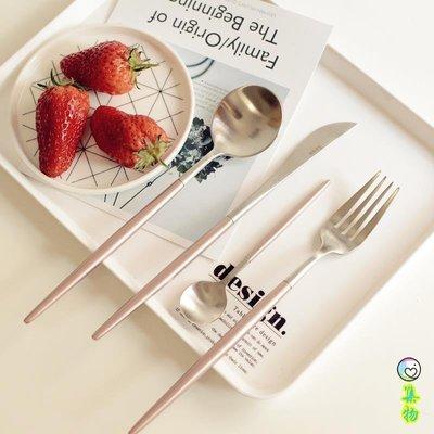 LEON櫻花粉色不銹鋼刀叉勺 牛排刀甜品勺餐勺甜品叉西餐具