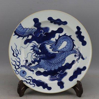 ㊣姥姥的寶藏㊣   大清光緒青花過牆龍紋外銷瓷盤古董古玩收藏