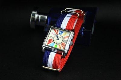 168錶帶配件 /EYKI法蘭克木樂名款造型時尚羅馬數字刻度nato錶帶石英錶 white