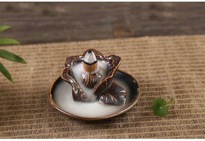 AB-9014蓮花盛開古铜釉陶瓷紫創意擺件家居辦公飾品檀香沉香爐