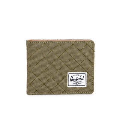 【GIANT MALL】HERSCHEL HANK WALLET 短夾/鈔票夾 皮革 拼接 Army Quilted 綠菱格車紋