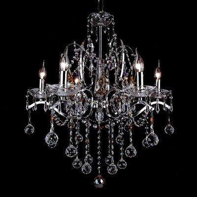 埃及奧地利金屬鍍鉻圓球彩珠水晶燈E14-6燈(琥珀色)TA95313