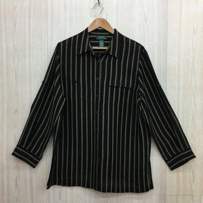 【愛莎&嵐】Ralph Lauren 女 黑色直條紋長袖襯衫 1071008