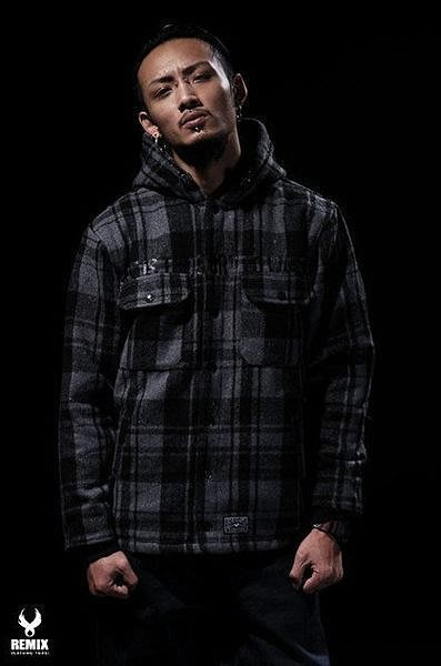 Remix 08 A/W Dash Hooded Work Jacket 黑灰格紋法藍絨鋪連帽外套