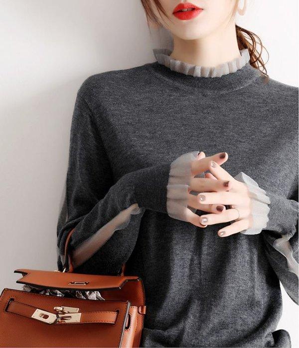 細緻柔軟貼身穿歐根紗花邊羊毛衣 1143   米蘭風情