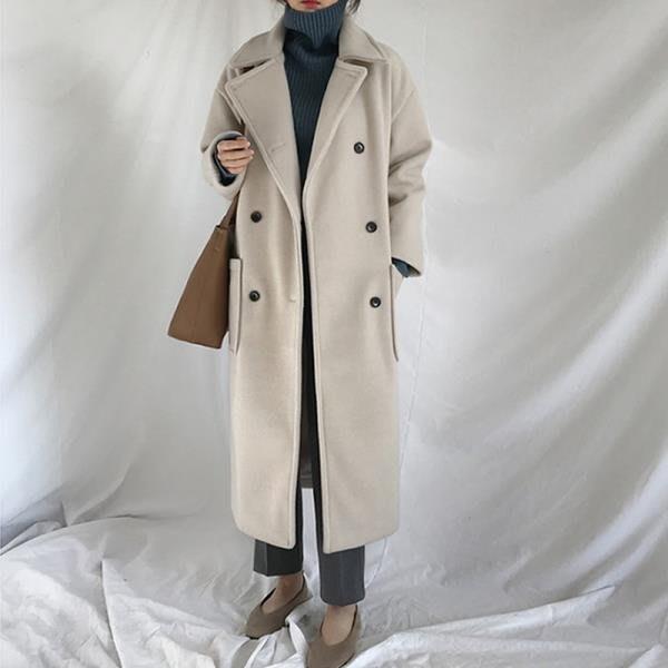 毛呢外套女大衣中長款2018新款流行韓版秋冬季赫本風加厚呢子學生