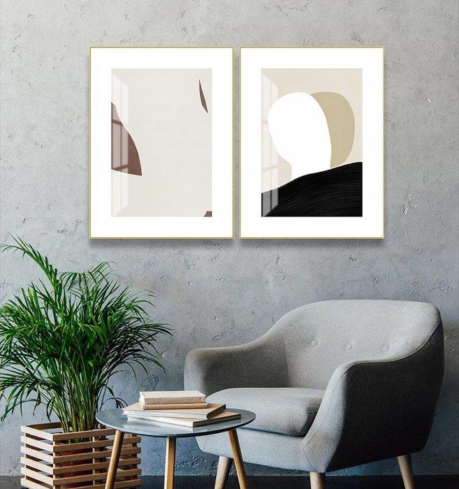 簡約現代莫蘭迪色塊幾何抽象裝飾畫畫芯掛畫壁畫微噴打印畫心(2款可選)