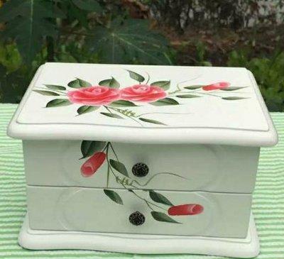 全新彩繪 玫瑰掀蓋一抽珠寶盒...