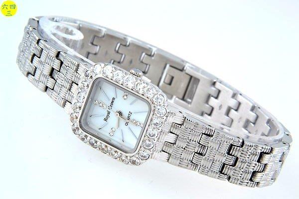 @(六四三精品)@ROYAL(真品)爪鑲鑽錶.方型錶殼..滿天鉑金式錶帶!