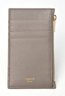 【折扣預購】21春夏正品CELINE ZIPPED COMPACT CARDHOLDER灰棕色皮革 金色拉鍊 信用卡夾包