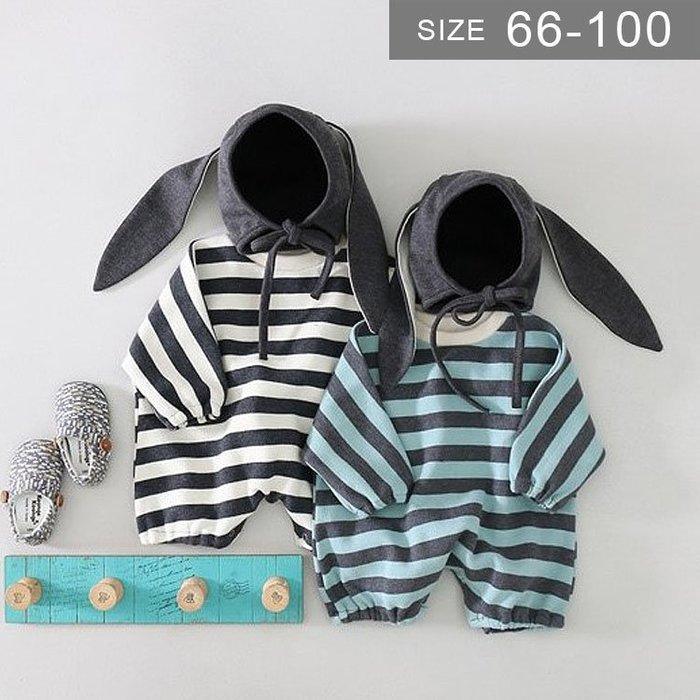 男女寶寶長袖包屁衣。ROUROU童裝。春秋男女寶寶小童95%棉兔子耳朵帽+條紋長袖兔裝 連身衣 0330-093