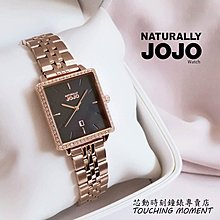 NATURALLY JOJO 極簡風 都會時尚 方形晶鑽女錶 (黑面) JO96975-88R