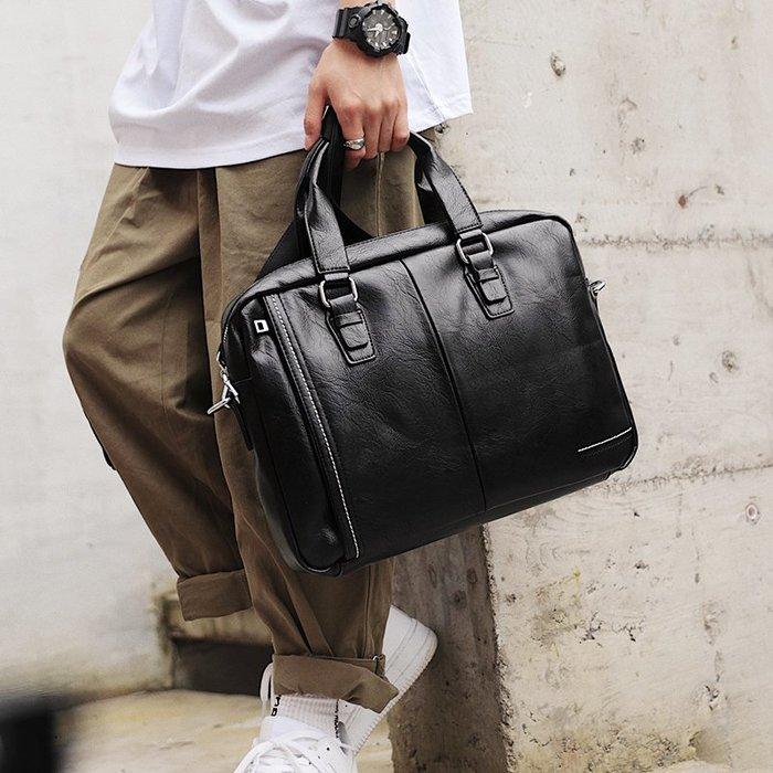 爆款熱賣-潮流新商務男士文件包手提包橫款公文包單肩包休閑出差青年斜跨包