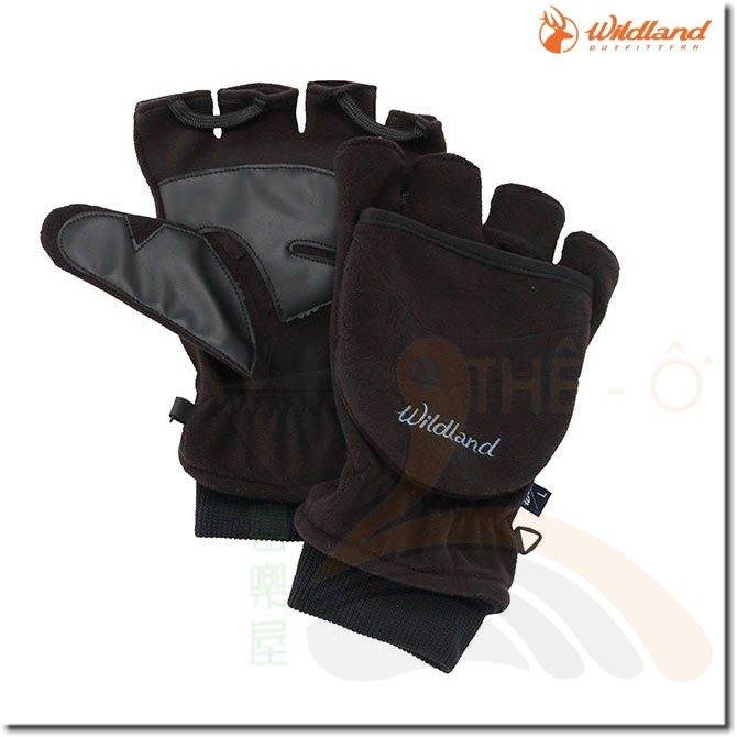 荒野 WILDLAND W2012-54黑色 中性防風保暖翻蓋手套 保暖手套 防風/刷毛/保暖 喜樂屋戶外