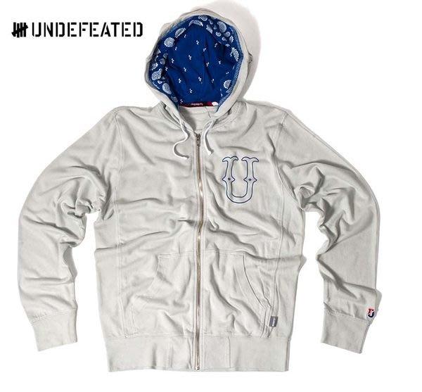 【 超搶手 】全新正品 2012 夏季 Undefeated U & D Zip Hoodie 柵欄 logo 變形蟲帽夾外套 灰色 M