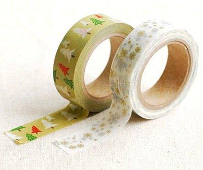 【15mm 和紙膠帶貼紙 冬日綠意 多功能裝飾 正韓 Decorate YOUR item】一組2入*YOOWOO*