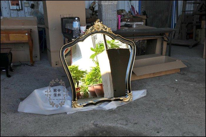 歐式古典風 黑色描金大型壁鏡子玄關鏡 桃花心木掛鏡連身鏡穿衣鏡大廳迎賓鏡造型鏡台公主鏡皇后鏡化妝鏡木鏡【歐舍家飾】