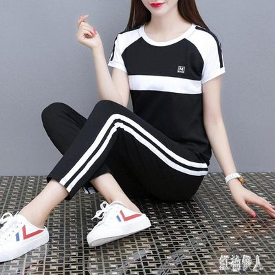 休閒運動套裝女2019新款韓版顯瘦運動服夏天時尚短袖九分褲兩件套CC328【藍色彼岸】