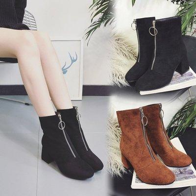 【絕品好店】2017秋冬女靴子韓版馬丁靴絨面中筒靴前拉鏈粗跟百搭防滑短靴