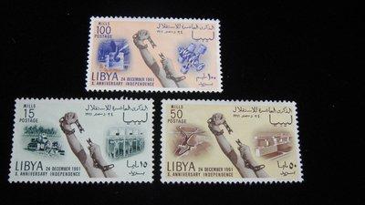 【大三元】歐洲郵票- 利比亞-新票3枚-原膠