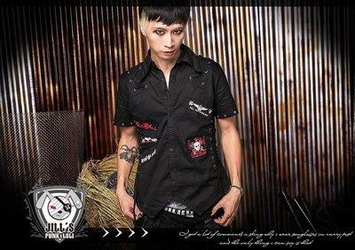Oo吉兒oO龐克搖滾重金屬decora骷髏燙畫抽帶短袖襯衫~地獄的時鐘 punk rock 【JGGA242BK】黑