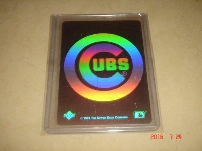 美國職棒 Cubs 小熊隊 1991 Upper Deck 雷射卡 球員卡