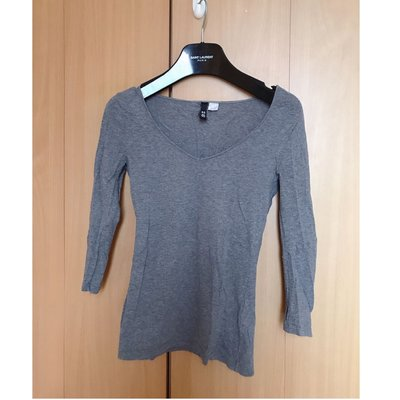 H M fashion grey v neck silm fit blouse top shop zara mango maje 外國靚灰色簡約v領中袖收身襯衫