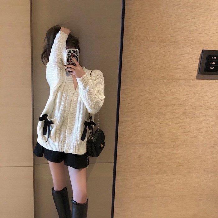 PapaDarling 20SS 慵懶風 百搭黑色蝴蝶結裝飾口袋設計感寬鬆 針織衫 針織外套