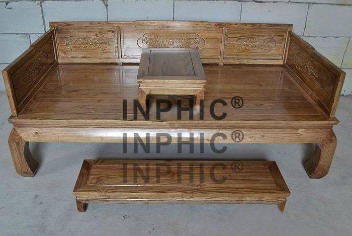 INPHIC-古味居大羅漢床三件套復古草龍床 榻榆木實木家具雕花板 床