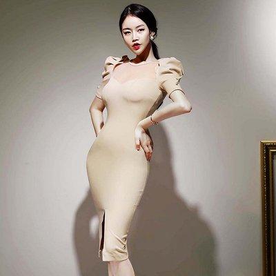 東大門專業代購 正韓國空運 立體公主袖剪裁胸前網紗拼接及膝禮服洋裝【9AUG-082297189】