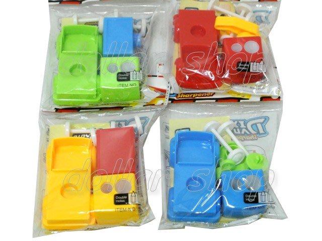 寶貝玩具屋二館☆【文具】DIY組合吊車造型雙孔削筆器(車車削鉛筆機)單入