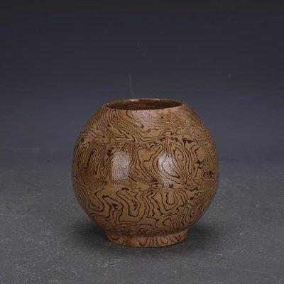 【三顧茅廬 】唐代灰地全手工絞胎瓷罐子 文物出土古瓷器古玩古董收藏擺件