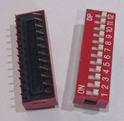 ►569◄指撥開關 撥碼開關 12位元 24腳 DIP平型 直插 2.54MM間距 紅色 編碼開關