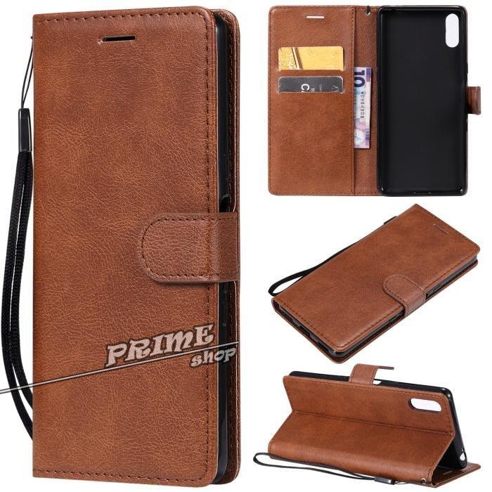 Prime Shop 索尼Xperia L3 XZ4 Compact純色手機皮套XA3保護軟殼翻蓋插卡支架 裝飾配件禮物