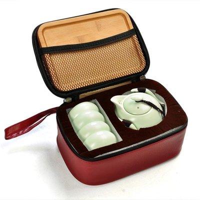 【全館9折】陶瓷功夫茶具整套裝家用一壺四杯戶外便攜包快客旅行托盤訂製logo