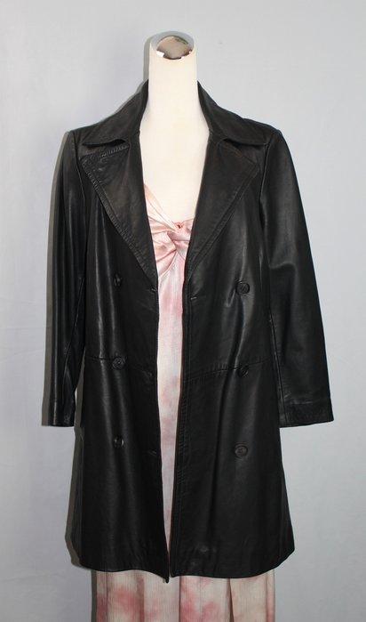 海洋工坊二手名牌旗艦店~ALLSAINTS 黑羊皮中長版外套
