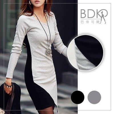 巴帝可爾BDKR*秋天/顯瘦長袖T恤【DC0035A101】韓版雙色拼接修身針織連身裙.共3尺寸