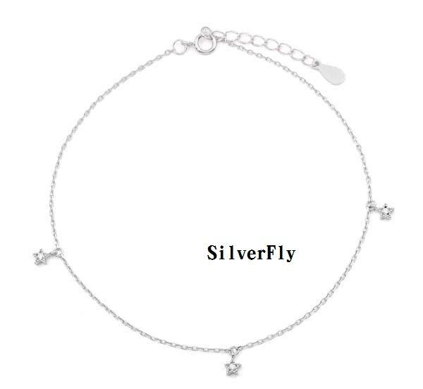 星星純銀時尚腳鍊《 SilverFly銀火蟲銀飾 》