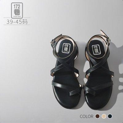 中大尺碼女鞋 波西米亞交叉扣環涼鞋/低跟鞋 39-45碼 172巷鞋舖【NZX236-1】
